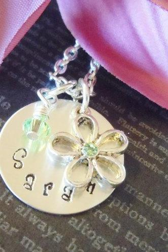 Personalized Hand Stamped Necklace-Mother Necklace-Personalized Jewelry-Childrens Necklace-Birthstone and Flower Charm