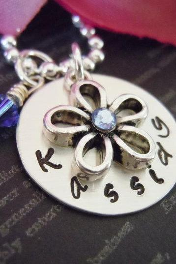 Personalized Flower Girl or Junior Bridesmaid Necklace-Flower Girl Gifts-Hand Stamped Jewelry-Pearl