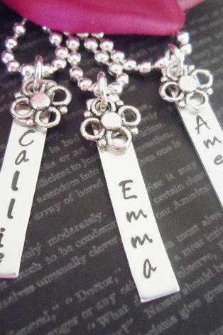 Three Personalized Flower Girl or Junior Bridesmaid Necklace-Flower Girl Gifts-Hand Stamped Jewelry-Pearl