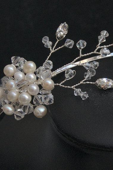 Wedding Side Tiara, Pearl, Crystal and Rhinestone