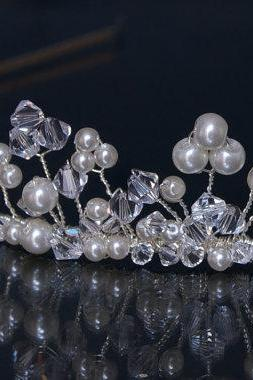 Wedding Head Piece -Tiara - Wedding / Silver Bridal Tiaras Ivory Pearls and Swarovski Crystal