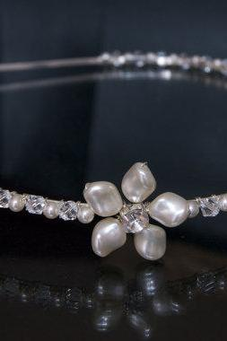 Wedding Headband, Bridal Headbands - Diamante Stones and Ivory Pearls, Wedding Hair Accessories