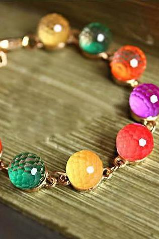 Cute Retro colorful candy crystal beads with golden bracelet! Fashion in this season! cool