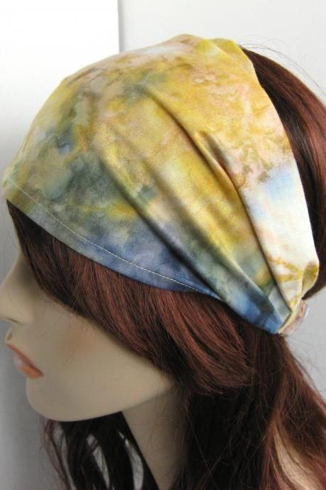 Tie Dye Headband Head Wrap Dreadband Womens Hippie Bandana Colorful Yellow Green and BlueCotton Fabric