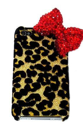 Bling leopard iphone 4 Case, Red Bow iphone 4G Case, Crystal iphone 4S Case, Leopard Gold iphone 4 Case, Ribbon iphone 4 Case A1B