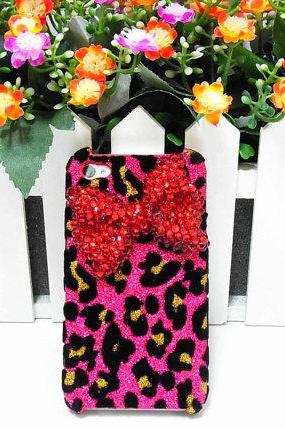 Bling leopard iphone 4 Case, Red Bow iphone 4G Case, Crystal iphone 4S Case, Leopard Pink iphone 4 Case, Ribbon iphone 4 Case A1