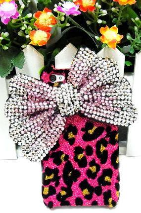Iphone 4 Case, Bling leopard Pink Bow Iphone 4 case, iphone 4S Bow Case, Iphone 4G Bow Case Cover PS