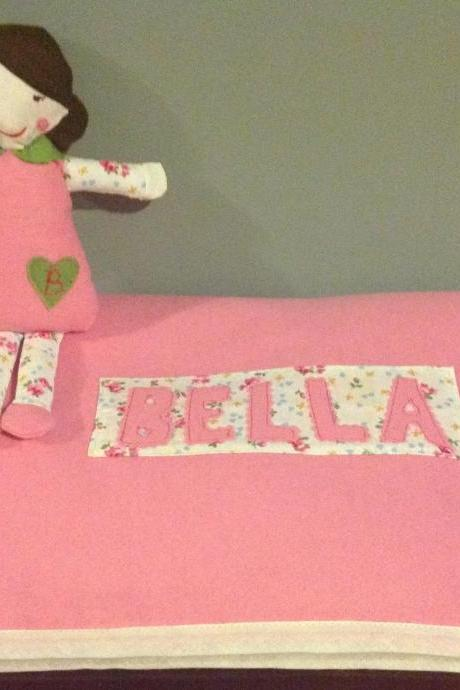 Handmade personalised doll teddy with matching blanket. Great gift for new baby/christening/Christmas for granddaughter/niece!