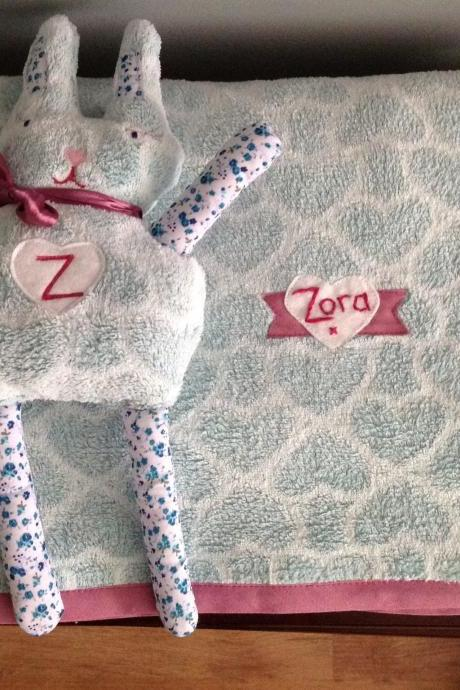 Handmade personalised bunny teddy. Great for newborn/christening/Christmas! Made to order for baby girl