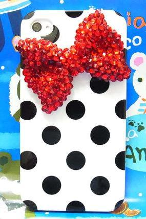 Bling Crystal Polka Dot White Black iphone 4 Case, iphone 4G Red Bow Case, iphone 4 Bow Case, iphone 4S Case Cover A1