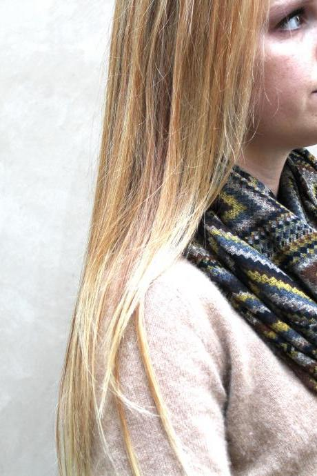 Infinity Scarf, Circle Scarf, Chevron, Black, Grey, Brown, Gold