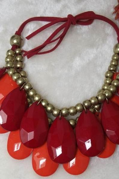 handmade red-orange teardrop bubble bib necklace, bubble necklace, bubble jewelry,bib statement jewelry,links jewelry necklace
