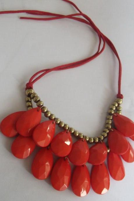 handmade coral teardrop bubble bib necklace, bubble necklace, bubble jewelry,bib statement jewelry,links jewelry necklace