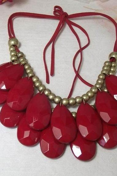 handmade dark red teardrop bubble bib necklace, bubble necklace, bubble jewelry,bib statement jewelry,links jewelry necklace