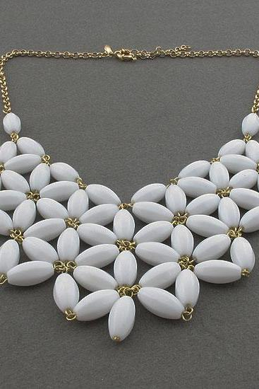 handmade white fan bubble necklace,bib statement necklace,holiday party,beaded jewelry necklace,statement necklace-JCrew Inspired