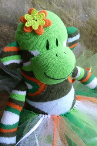 sock monkey doll, sock monkey, sockmonkey, sock monkeys, handmade sock monkey, unique sock monkey, green sock monkey, babysafe sock monkey