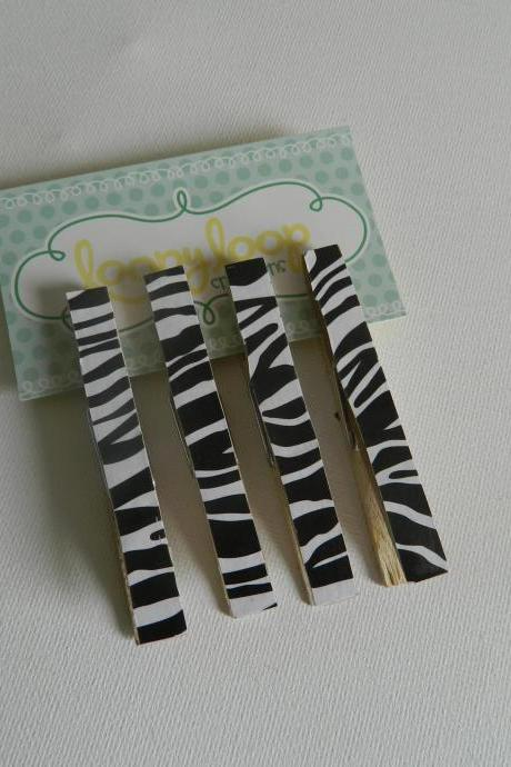Set of 4 Zebra Print Clothespin Magnets