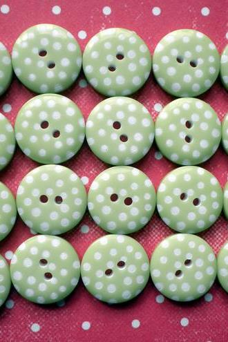 25x 12mm Lime Green Spotty Buttons