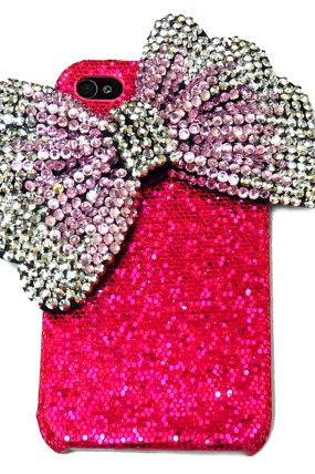 Bling Rhinestone Crystal Pink Silver Ribbon Bow Red Hard Case Cover for IPhone 4 Case, iphone 4S Case, iphone 4G Case PS