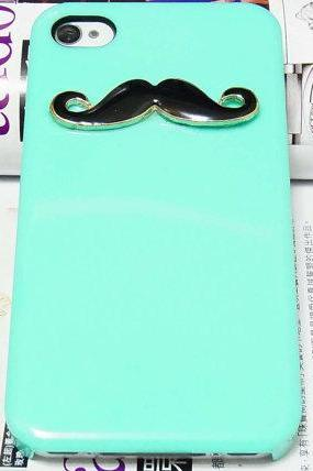 Black Moustache Mustache Green Back Hard case For Apple iPhone 4 Case, iphone 4G case, iphone 4S Case