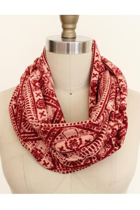 Infinity Scarf Circle Loop Peach and Raspberry Colored Boho Bohemian Jersey