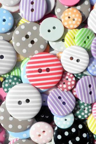 30x Bright Sweetie Button Mix