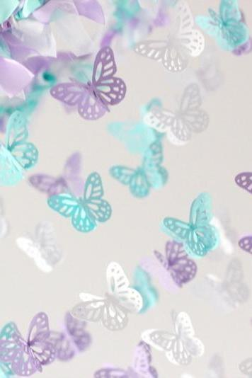 Lavender, Tropical Blue & White Butterfly Nursery Mobile