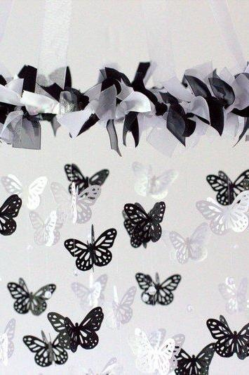 Black & White Butterfly Mobile Chandelier