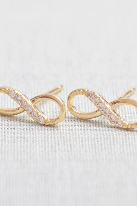 SALE-Tiny Infinity Stud Earrings in gold