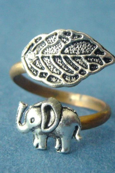 Silver elephant ring with a leaf wrap ring, adjustable ring, animal ring