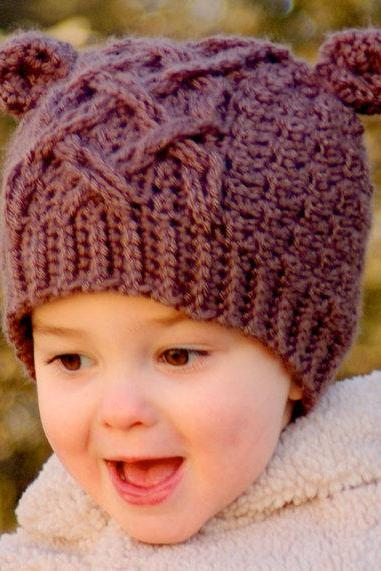 Crochet Hat Pattern Little Bear Cable Hat