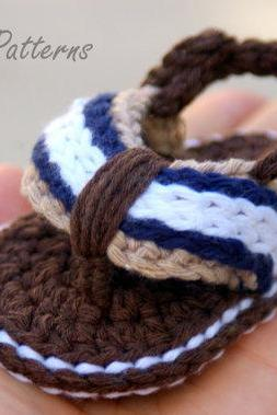 Baby Booties Crochet Pattern for Sporty Baby Flip Flop Sandals - Crochet Pattern number 116