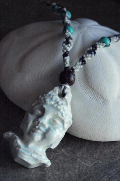 ceramic Buddha necklace ~ micro macrame