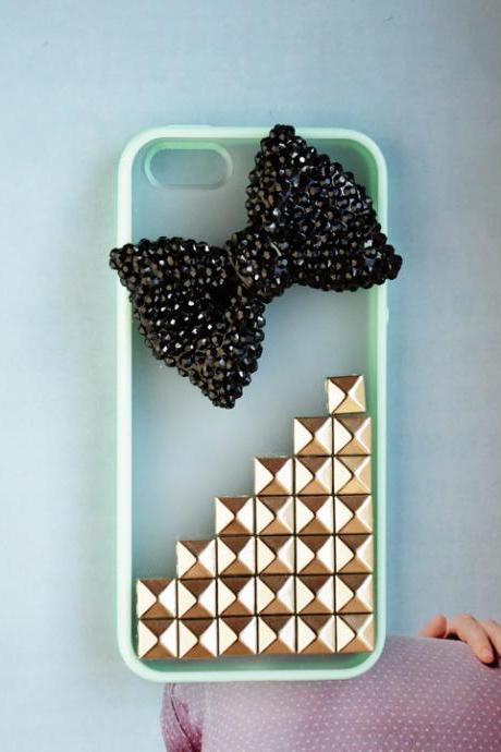 Studded iPhone 5 case, vintage bronze pyramid studs iPhone 5 case, custom iPhone 5 case