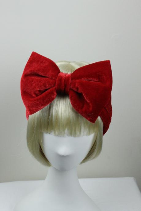 Woman handmade velvet turban headband head warmer with bow hat cap Red