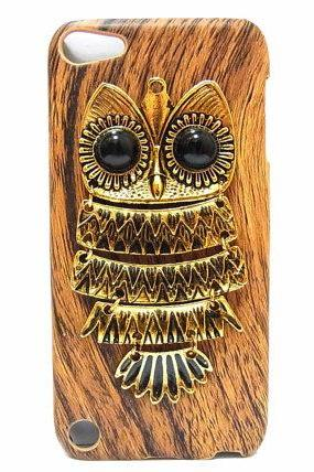Wood Pattern Plastic Owl iPod Touch 5 Case, Bronze Metal Owl iPod Touch 5 Case, iPod Touch 5th Case, iPod Touch 5G case DB