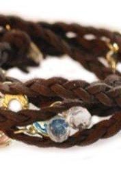 Manmade Leather Weave Wrap Bracelet Coffee