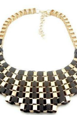 black Geometric Multi Layer Ribbon Stripe Weave Bib Chunky Choker Necklace