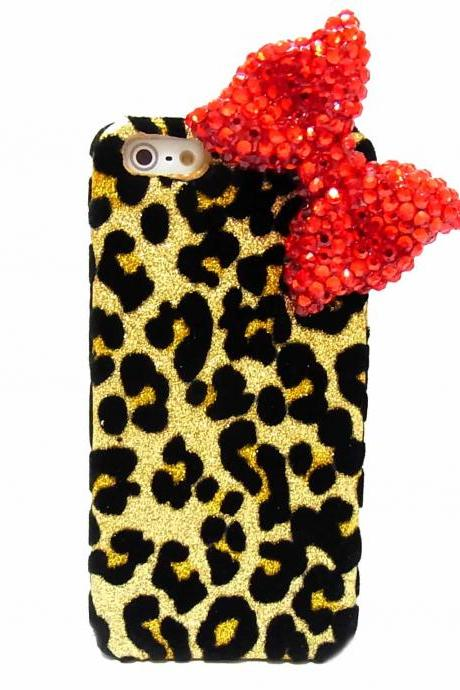 Bling Crystal Velvet Leopard Gold iphone 5 case, Red Bow iphone 5G case, Crystal iphone 5 case, Leopard iphone 5G case A1B,iphone 5s case,bow iphone 5s case,leopard iphone 5s case