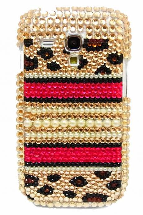 Bling Leopard Gold Pearl Samsung Galaxy i8190 S3 Mini Case,Samsung galaxy S3 Mini Case Cover , Crystal Samsung Galaxy S3 Mini Case LPG