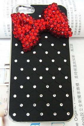 Bling Rhinestones Crystal Red Bow Metal Black Hard Back Case Cover For Apple iPhone 5 case, iphone 5G, iphone Case A1,iphone 5s case,bow iphone 5s case,bling iphone 5s case