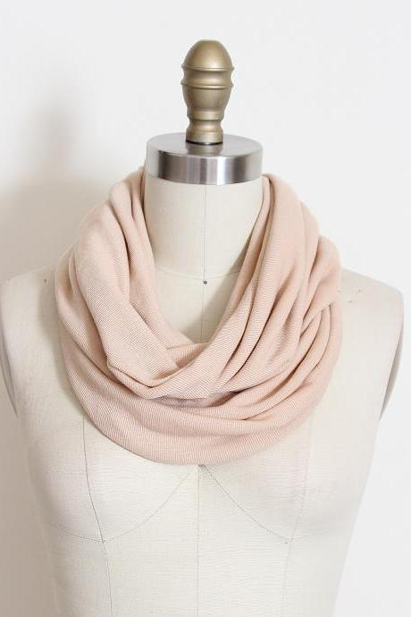 Infinity Scarf in Beige Ribbed Jersey Loop Circle