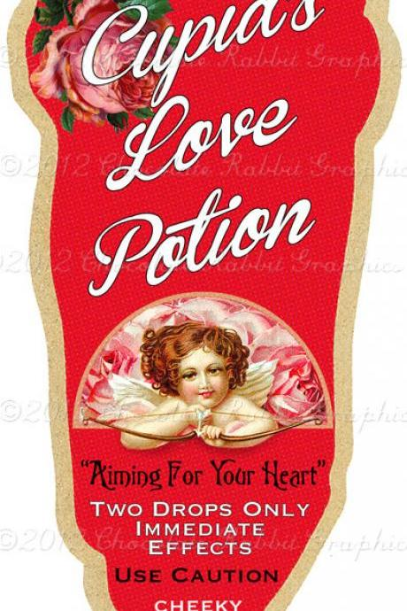 Valentine Vintage Love Potion Label Digital Download Printable Image Scrapbook Tag Collage Sheet