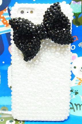 iPhone 5 case, iPhone 5G case, iPhone 5 Pearl Case, iphone 5 bow case, crystal iphone case, bling iphone 5 Black Bow case A1
