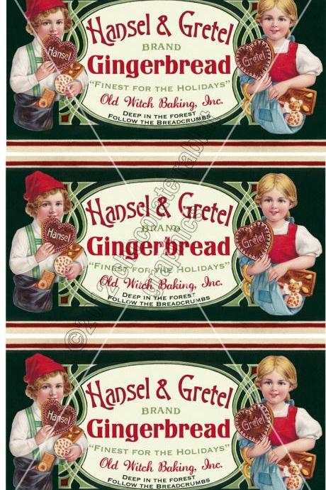 Christmas Vintage Label Tag Gingerbread Digital Collage Sheet Hansel and Gretel Graphics Scrapbook Image