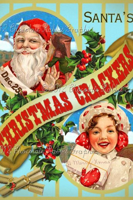 Vintage Tag Printable Label Christmas Crackers Digital Collage Sheet Graphics Scrapbook Image