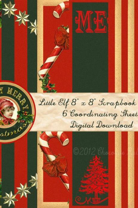 Christmas Digital Scrapbook Paper Pack Download 8 inch Red and Green Holiday 6 Papers