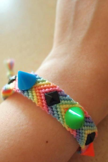 Spikes & Studs Pastel Friendship Bracelets || Rainbow ||