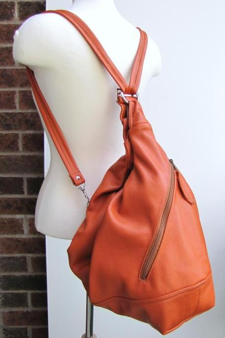 Large orange convertible leather bag - Tangerine Tango