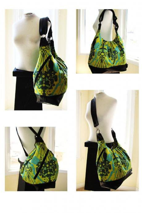 Extra large convertible backpack, messenger, tote, diaper bag w/ leather straps, bottom, and zipper top closurer - Turquoise green bouquet